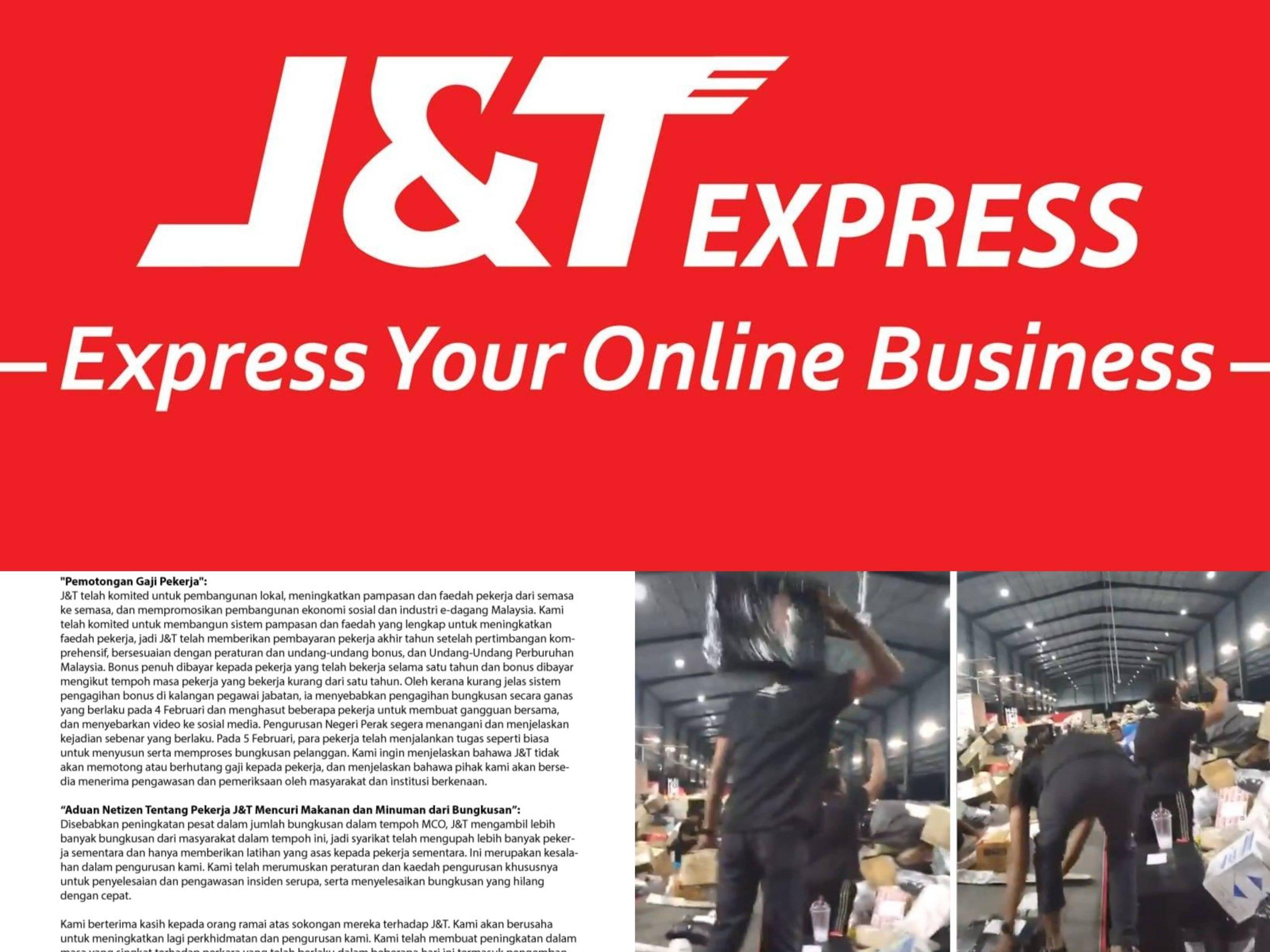 Pekerja J&T Mogok Dan Campak Barang Pengeposan Pelanggan