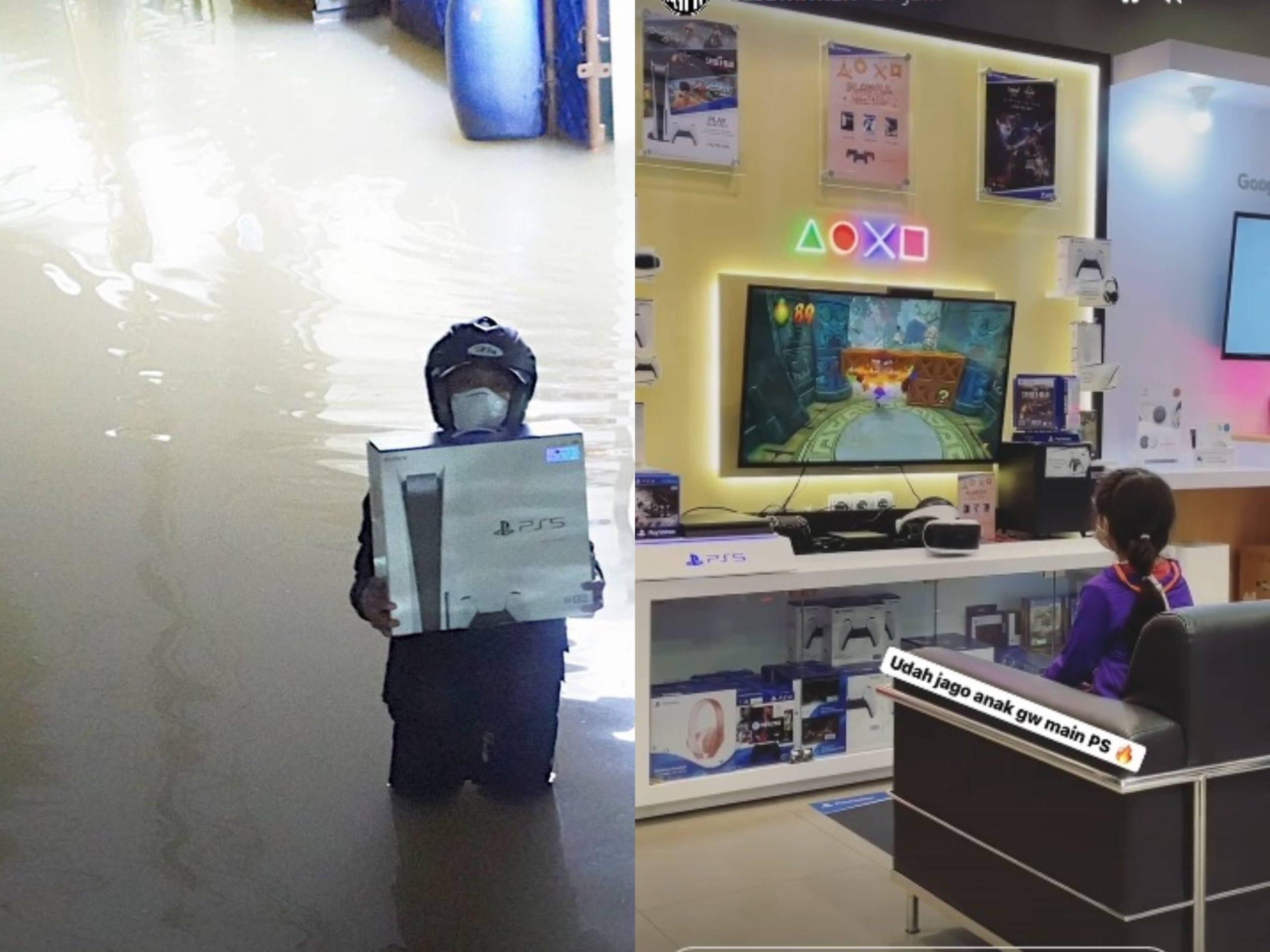 Seorang Bapa Redah Banjir Untuk Membelikan Anaknya PS5